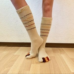Hand-knit Thanksgiving Turkey Toe Socks